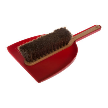 Beech Dustpan & Brush Set - Red