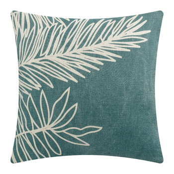 Palm Leaf Pillow - Aqua