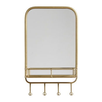 Rectangle Mirror with Shelf and Hooks - Gold