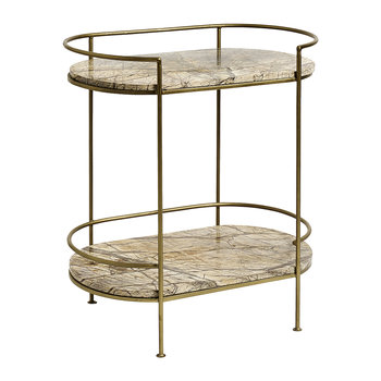 Table d'Appoint Ovale en Marbre Jungle - Or