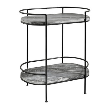 Midnight Marble Oval Side Table - Black