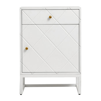 Buffet Squares One Door Cabinet - White