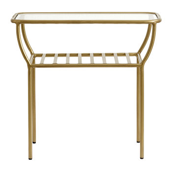 Glass Side Table - Gold