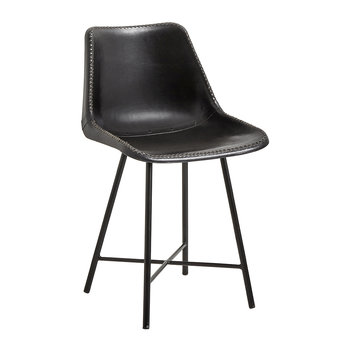 Leather Chair with Iron Legs - Black