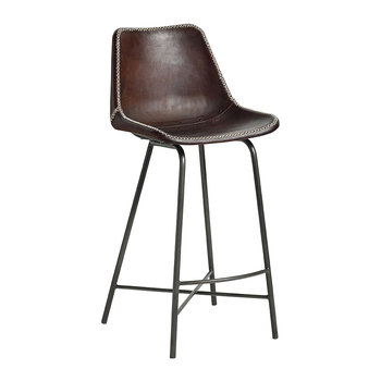 Leather Bar Chair with Iron Legs - Dark Brown