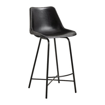 Leather Bar Chair with Iron Legs - Black