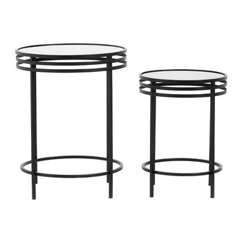 Table d'Appoint Ronde - Lot de 2 - Noir