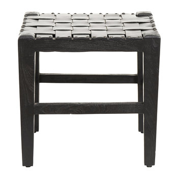 Square Wood/Leather Stool - Black