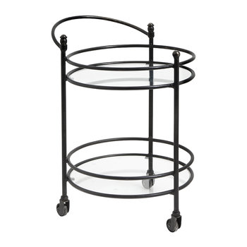 Round Trolley with Handle - Black