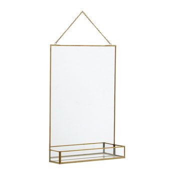 Square Mirror with Shelf - Gold