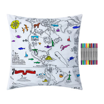 World Map Pillowcase - 65x65cm