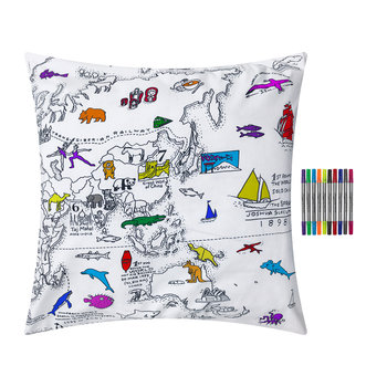 World Map Pillowcase - 80x80cm