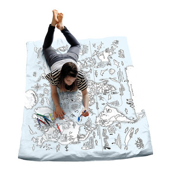 World Map Quilt Cover - Single