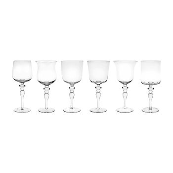 Diseguale Worked Stamp Wine Glasses - Set of 6 - Clear