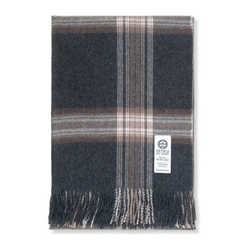 Ebbe Baby Alpaca Wool Throw - 130x200cm - Charcoal/Brown Check