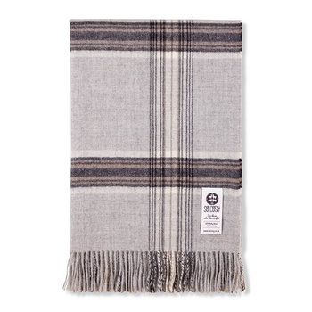 Ebbe Baby Alpaca Wool Throw - 130x200cm - Silver Gray Check