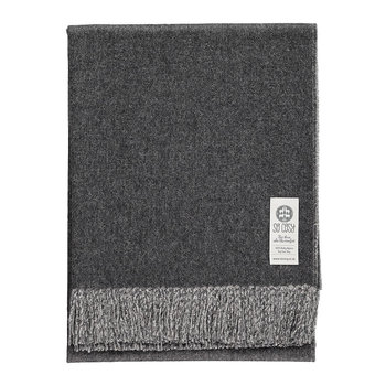 Emery Baby Alpaca Wool Throw - 130x180cm - Charcoal Gray/White