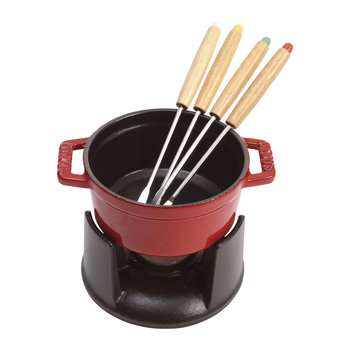 Mini Fondue Set with 4 Forks - Cherry