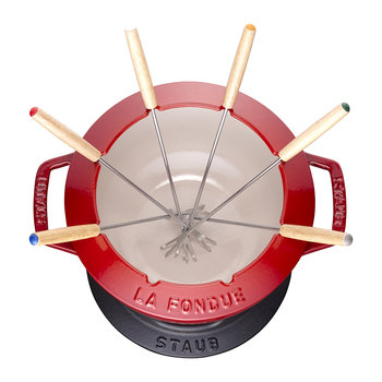 Fondue Set with 6 Forks - Cherry