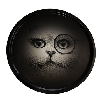 Supersize Cat with Monocle Circular Tray - Black