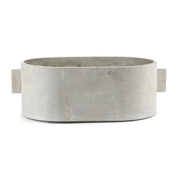 Concrete Oval Plant Pot - Gray