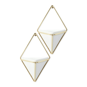 Trigg Wall Planter - Set of 2 - White/Brass