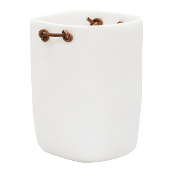 Water Bath Waste Bin with Leather Handles - White