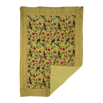 Border Velvet Bird of Paradise Bedspread - Lime