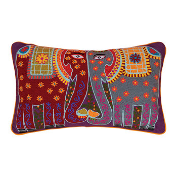 Kissing Elephants Crewel Work Pillow - 60x40cm