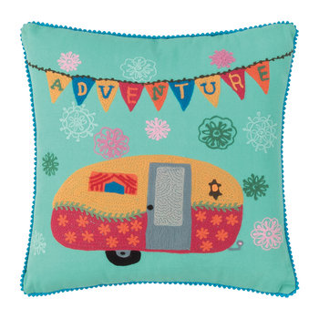 Cotton Caravan Embroidered Pillow - 42x42cm