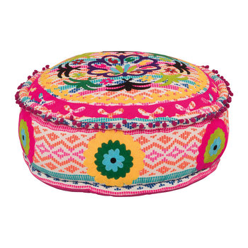 Candy Colors Embroidered Pouffe