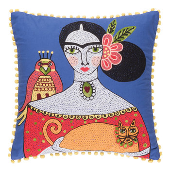 Frida Orange Cat Embroidered Pillow Cover - 45x45cm