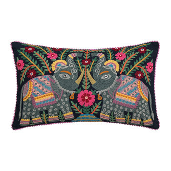 Elephant Embroidered Pillow - 40x60cm - Dark Navy