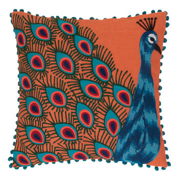 Peacock Embroidered Pom Pom Pillow Cover - Orange - 45x45cm