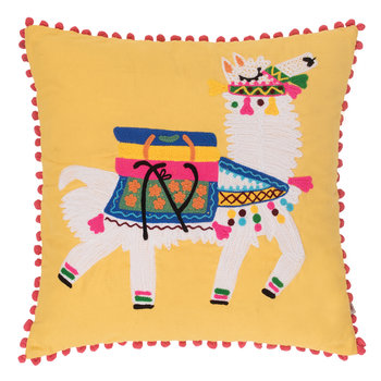 Llama Embroidered Pom Pom Pillow Cover - Yellow - 45x45cm
