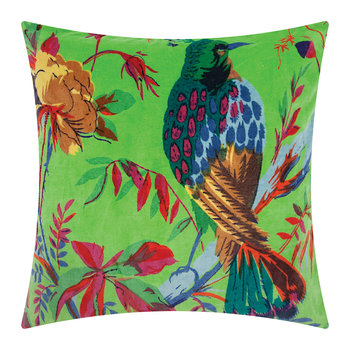 Bird of Paradise Velvet Pillow Cover - 45x45cm - Green