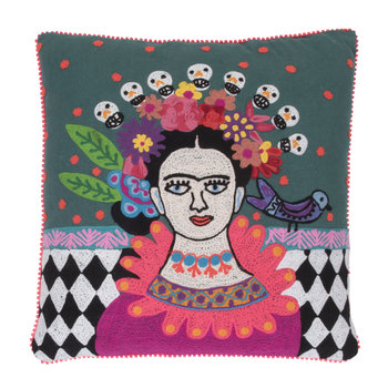 Chequered Skull Frida Kahlo Cushion - 45x45cm