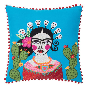 Frida Kahlo and Cactus Cushion - Blue - 45x45cm