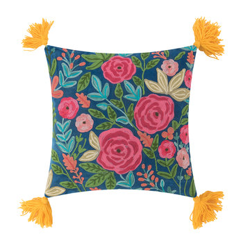 Roses Embroidered Pillow with Tassels - 45x45cm - Mustard