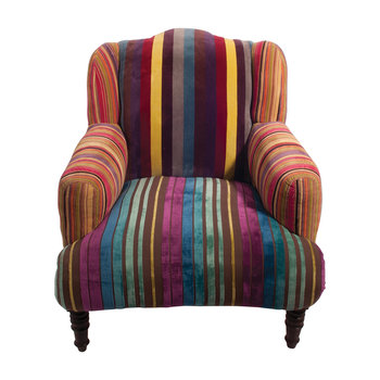 Multi Stripe Velvet Armchair