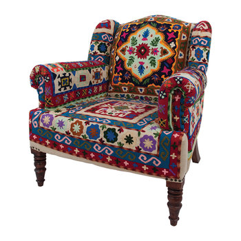 Maharaja Crewel Embroidered Armchair