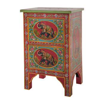 Hand Painted Elephant Two Drawer Cabinet
