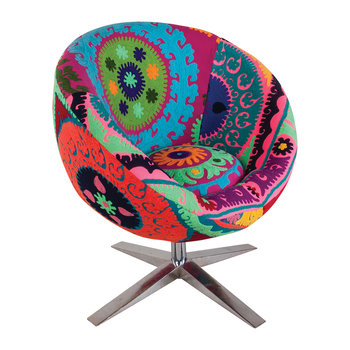 Embroidered Velvet Swivel Chair