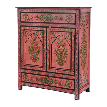 Hand Painted Lotus Flower Cabinet