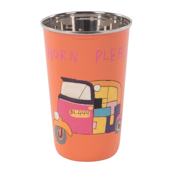 Hand Painted Rickshaw Stainless Steel Tumbler - Orange