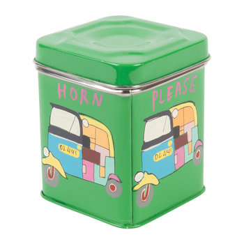 Hand Painted Rickshaw Stainless Steel Canister - Green