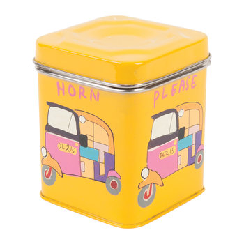 Hand Painted Rickshaw Stainless Steel Canister - Yellow