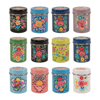 Kashmiri Painted Stainless Steel Spice Canister - Set of 12
