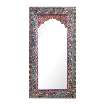 Mehendi Work Arched Wooden Mirror - Blue
