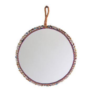 Beaded Cotton Trim Round Mirror